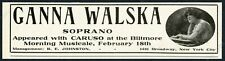 1918 Ganna Walska photo opera recital booking vintage trade print ad