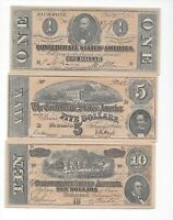 Confederate States Of America  Currency Reproduction Richmond 1,5,10,20, 50,100