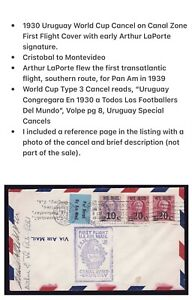 1930 World Cup Cancel on Canal Zone US First Flight Cover signed Arthur LaPorte