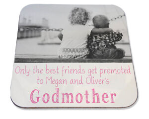Personalised Printed Coaster Friends promoted Godmother birthday photo gift