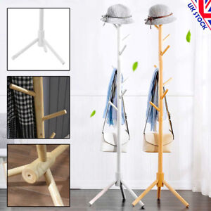 8 Hooks Wood Coat Rack Hat Jacket Bag Clothes  Hanger Stand Bedroom Living Room
