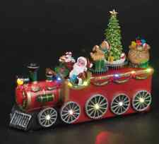 Large Santa Train Loco Christmas Carousel 24cm Long with 3 Rotating Carousels