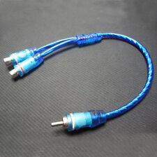 "1pcs 7"" RCA Audio Cable ""Y"" Adapter Splitter 2 Female to 1 Male Plug Cable Blue"