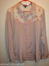 New Women American Eagle AE FLORAL CHIFFON POET BLOUSE SHIRT Top pink size L