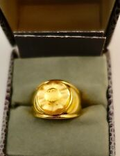 $320 Lalique Size 7 golden yellow Crystal Sterling Ring Mint in Box