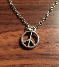 Peace Symbol Silver Metal Chain Pendant Chain Necklace Free Post UK Sale