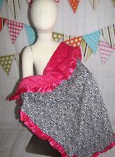 "NEW knit minky  Nursery Baby receiving Blanket satin Ruffle hot pink zebra 30"""