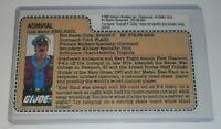 REPRODUCTION 1985 GI Joe USS Flagg Carrier Admiral Keel Haul Uncut File Card