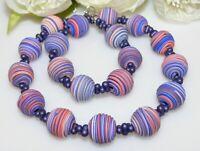 Halskette Kette FIMO Spirale multicolor mehrfarbig Farfalle blau rosa lachs 380p