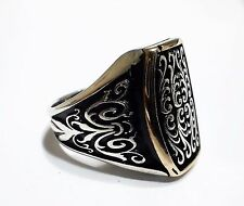 Turkish Ottoman Solid 925 K Sterling Silver  Mens Ring 01