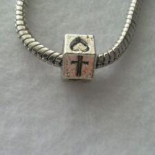 Christian Catholic Religious Cross Heart Spacer Bead For European Charm Bracelet