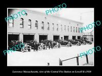 OLD LARGE HISTORIC PHOTO OF LAWRENCE MASSACHUSETTS, FIRE DEPARTMENT STATION 1920