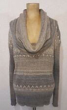 Women's FREE PEOPLE Fair Isle Long Sleeve Cowl Neck Sweater XS Lt. Gray