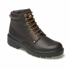 DICKIES ANTRIM LEATHER SAFETY WORK BOOT STEEL TOE CAP BROWN SIZES 9