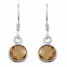 Citrine (Square) Hook Earrings in Sterling Silver 5.390 Ct.