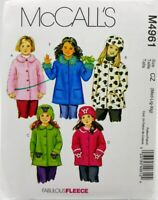 Girls Coat Jacket Sewing Pattern M4961 Size Med Large XL McCalls 5 Styles