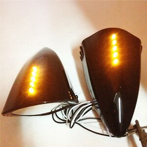LED Ox Horn Cat Eye Rearview Mirrors For Suzuki Honda Kawasaki Yamaha Sport bike