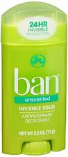 Ban Anti-Perspirant Deodorant Invisible Solid Unscented 2.60 oz