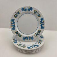 "Vintage Mikasa Mediterrania Blue Bird Salad Plates RARE 7 3/4""  Set of 6 Japan"
