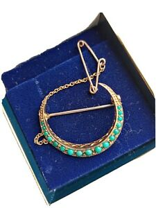 Antique Edwardian 9ct Gold And Turquoise Crescent Brooch Pin