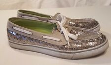 Arizona Jean Co. Size 9.5 M Glam Boat Shoes Gray With Silver Sequins