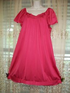 VANITY FAIR SILKY WATERMELON RED ROOMY NIGHTGOWN GOWN~FLUTTER SLEEVES~LARGE~