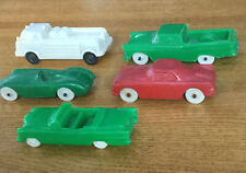 Lot Of 5 Vintage Collectible Auburn RubberToy Cars Fire truck Plastic Caddy