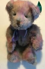 """Russ Berrie Mayberry Bear 9"""" Multi Colored Plush Toy #101431 Purple Bow w/ Tag"""