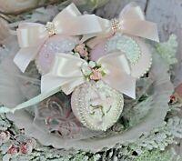 Shabby Chic Vintage Christmas Tree Ballerina Ornaments Set of 3 Blush Pink