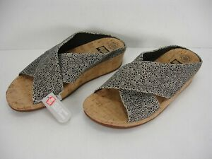 NWT FITFLOP KYS E30-140 CORK BLACK WHITE CIRQUE LEATHER SLIDE SANDALS WOMEN'S 11