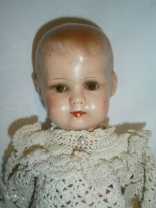 30CM ANTIQUE GERMAN COMPOSITION TODDLER DOLL WITH GLASS SLEEP EYES MOLDED HAIR