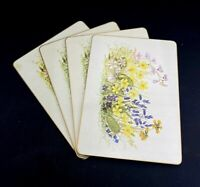 """Set of 4 Clover Leaf Table Place Mats Cork Backed """"Wild Flowers"""""""