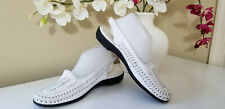 CLASSIC ELEMENTS - HUDSON White Woven Soft Leather Slingback Flats Sz. 9,5