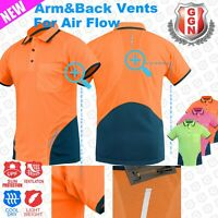 Hi Vis Polo Shirt Back and Arm Vents Cool dry with 3m Reflective AS/NZS 4602
