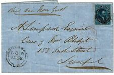Canada 1856 outer letter sheet to England, Scott 7, $3250