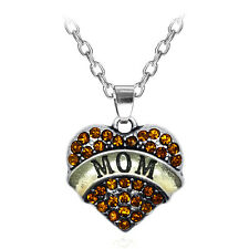 NEW Fashion MOM Family Crystal Love Heart Pendant Rhinestone Necklace Chain BJE2