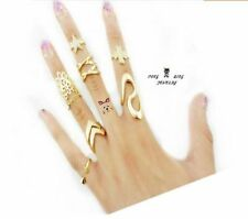 Fashion Womens Punk Gold Stack Above Knuckle Ring Band Midi Rings Set Gift 7Pcs