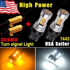 2x 7443 Switchback White/Amber 20SMD 5730 LED Turn Signal Light Bulbs+Resistors