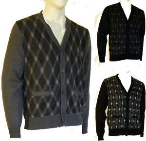Pullover Cardigan Maglia Uomo Maglione KADULON B336 Grigio e Nero Tg XXL