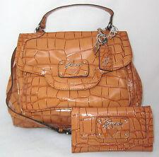 GUESS RETRO Croc Sac a Main Bandouliere Bag Coeur Breloque Portefeuille Vernis