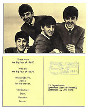 1967 Promotional Postcard for CBS-TV Featuring Beatles