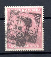 GB QV 5/- rose (A-G) SG134 plate 4 fine used WS17472