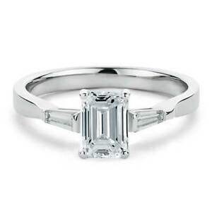 1.20 C Emerald + Baguette Diamond Wedding Solitaire Ring 14K White Gold Size 6