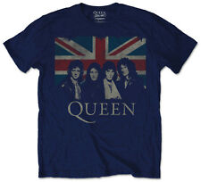 Official Queen Mens Music T-shirt Navy With Union Jack Vintage Style Rock Pop X Large