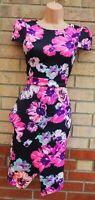EVITA BLACK BRIGHT PINK PURPLE FLORAL SHORT SLEEVE PEPLUM SIDE BODYCON DRESS 10
