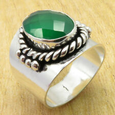 NEPHEW'S JEWELRY 925 Silver Overlay Real Green Onyx TRENDY Ring Size 8.75 NEW