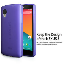 For LG Google Nexus 5 D820 Cover Purple TPU Soft Rubber Matte Back Case+HD Films