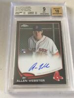 Allen Webster RC AUTO 2013 TOPPS CHROME Black REFRACTOR #'d /100 BGS 9/10
