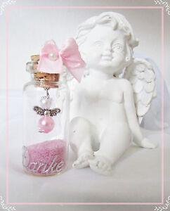 10 Rosa/Weis Mini-Schutzengel im Glas,Gastgeschenk,Taufe,Hochzeit,Kommunion