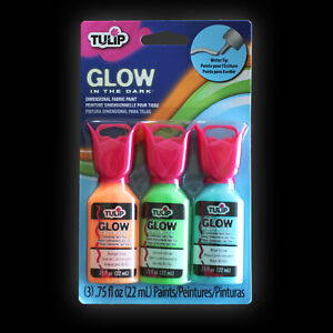 Tulip 3D Glow Fabric Paint (3 Pack) - glow in the dark, dimensional, crafts, pai